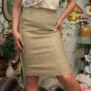 Vintage Ellen Tracy creme tan twill pencil skirt